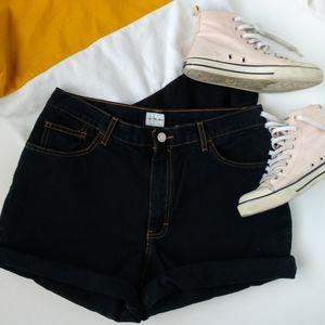 Calvin Klein High Waisted Cuff Dark Wash Shorts 12